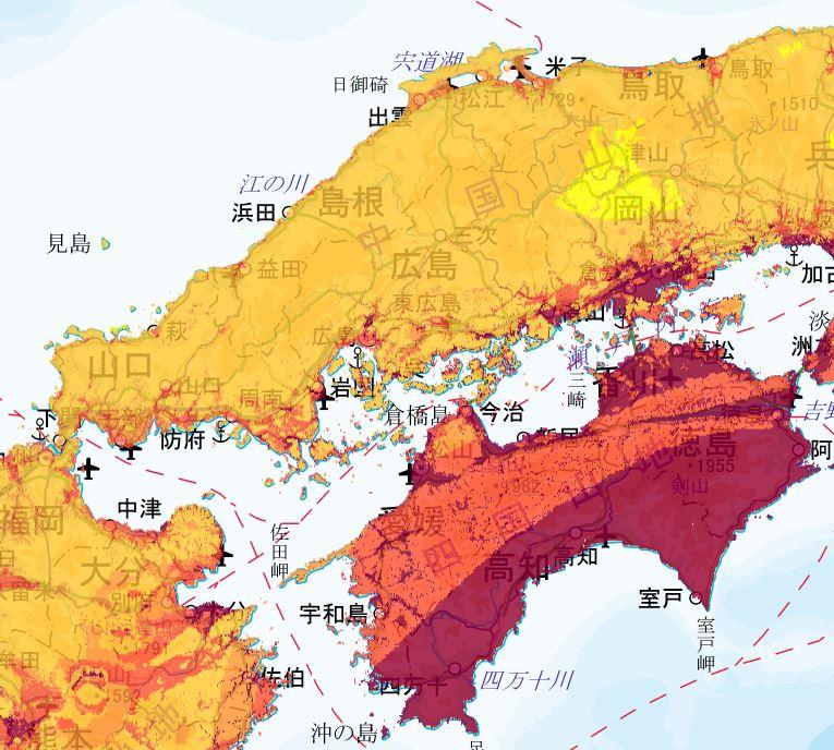 地震動予測地図 中国・四国エリア