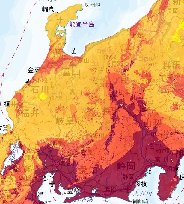 地震動予測地図 中部エリア