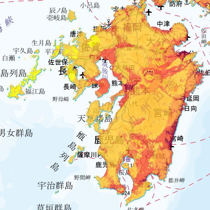 地震動予測地図 九州エリア