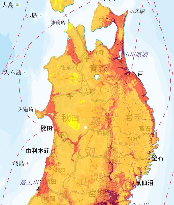 地震動予測地図 東北エリア1