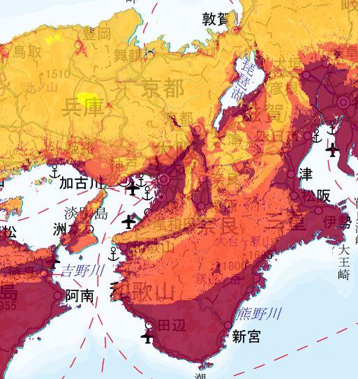 地震動予測地図 近畿エリア