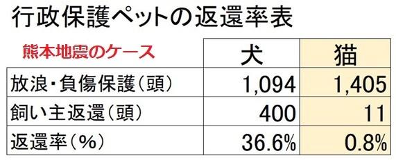 行政保護ペットの返還率(熊本)