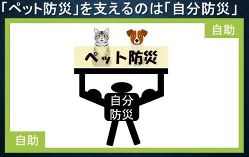 ペット防災を支えるのは自分防災イメージ図